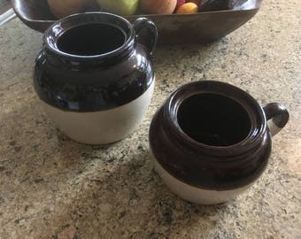 2 Vintage Brown and Tan Stoneware Bean Pots, Pottery, Made in USA #1100