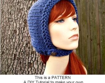 Instant Download Knitting Pattern - Knit Hat Pattern for Pixie In Training Aviator Cap Pattern - Womens Bonnet Pattern - Womens