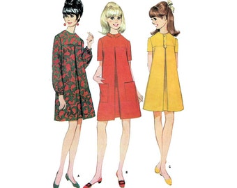 """60's Style Women's A-Line Dress Sewing Pattern, Long or Short Sleeves, Inverted Pleat, Misses Size 14 Bust 34"""" Uncut Vintage McCall's 8916"""