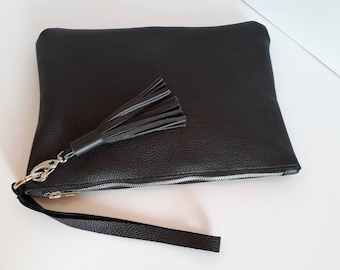 LARGE LEATHER CLUTCH,Leather Tassel,Leather Purse, Leather Clutch Purse, Black Evening Clutch,Wedding Clutch, iPad Case,New York