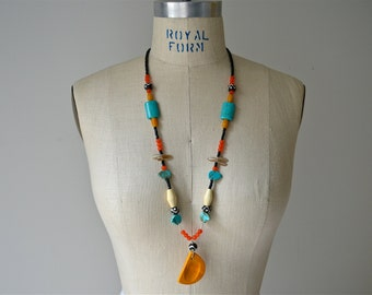 OOAK Eclectic Tribal Yellow Moon Necklace with Turquoise, Tangerine Cat's Eye, Czech Glass and Wood Details