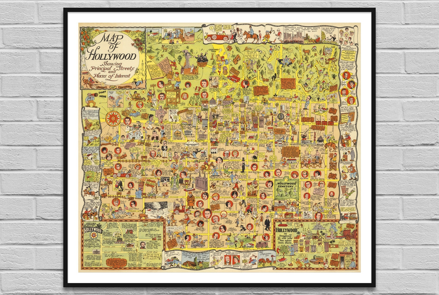 Map of Hollywood USA / vintage map history movies / old map