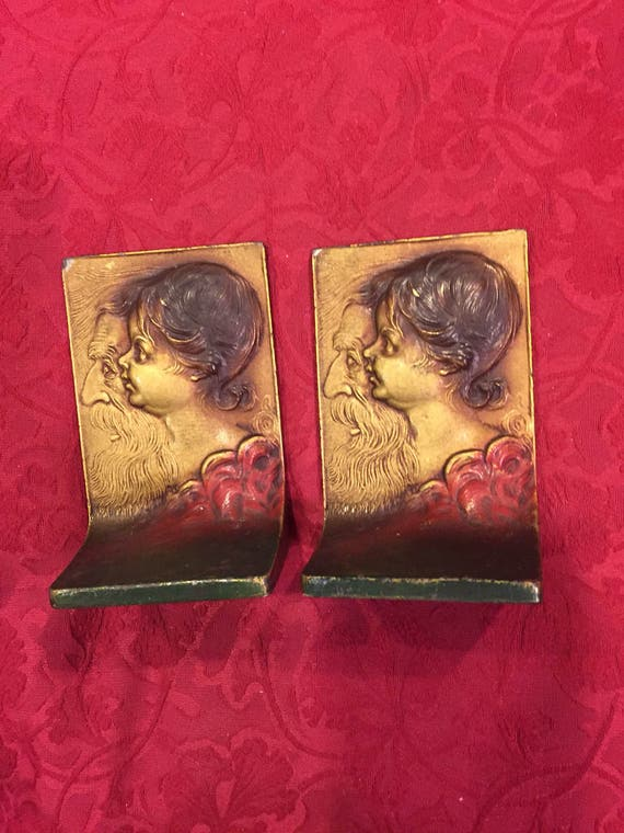 FREE SHIPPING-1930-K & O-Polychrome-Bookends-Ild Man Reflecting On Yourh