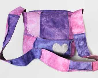 Purple and pink patchwork messenger bag for girl -  Pink crossbody bag - Pink girl handbag