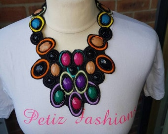Geo Layered Seed Bead Statement Necklace