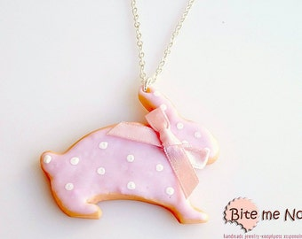 Rabbit Easter Cookie Necklace, Easter Bunny Biscuit, Polymer Clay Mini Food, Easter Jewelry, Biscuit Necklace, Easter Gift