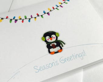 Penguin Christmas Cards, Penguin Card Set, made on recycled paper, come with envelopes and seals