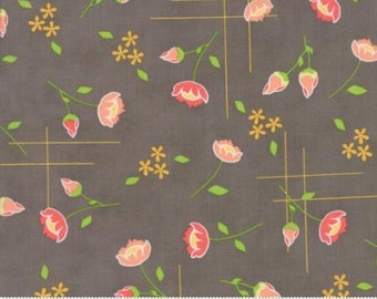 Lulu Lane ~ Floral Meadow in Slate Coral by Corey Yoder ~ Moda fabrics .. 29021 20 ~ By the Yard
