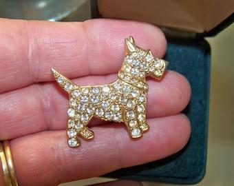 Beautiful Vintage Sparkling Scottie Dog Brooch C.1960's