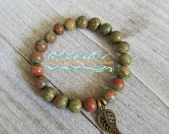 Unakite bracelet + Wrist Mala + Spiritual Jewelry + Stackable Bracelet + Yoga Jewelry