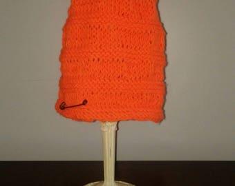 Hunter orange, slouch knit hat