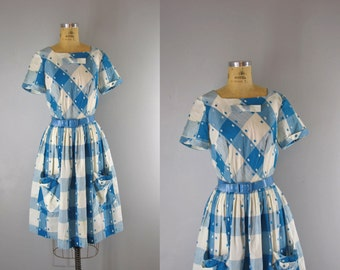 1960s Vintage Dress l 60s Blue Plaid Dress with Bow Details