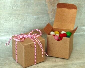 10 Kraft Pinstripe Gift Boxes . 2x2x2