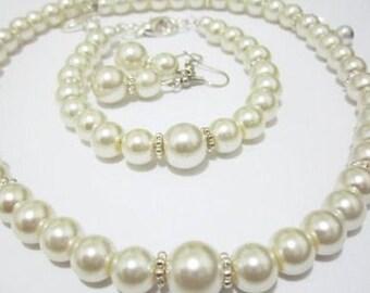 White Pearl Flower Girl Jewelry Set, Flower Girl Necklace, Bracelet, Earring Set, Girls Pearl Set, Junior Bridesmaid Flower Girl Gift