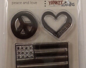 Clear Stamps Yankee Doodles Peace And Love Cling Rubber Stamp Set