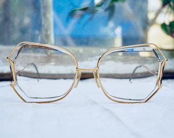 Vintage Gold 70's Butterfly Eyeglasses Large Oversized