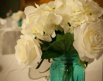 Beautiful White Rose, Hydrangea and Eucalyptus Bouquet