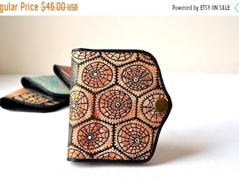 SALE 15% Hand Painted Leather Wallet Card Holder Coin Purse, Girlfriend Gift, Wife Gift, Womens Leather Wallet, Unique gift for her
