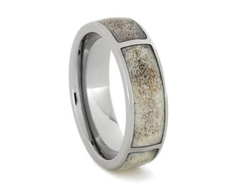 Deer Antler Ring, Hunters Wedding Band, Titanium Ring with Four Partial Deer Antler Inlays, Ring Armor Included