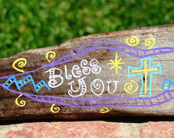Bless You Driftwood Art with purple, yellow, white, and teal accents (Made to Order)