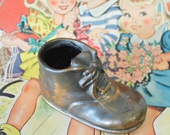 vintage Bronzed rustic Baby Shoe / copper baby shoe / diy pincushion / baby room decor