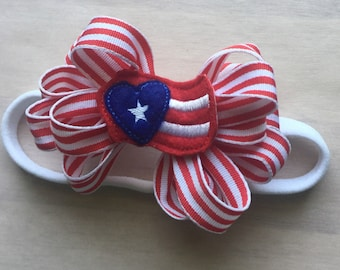 Memorial Day July 4 holiday headban infant toddlers girls