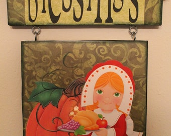 Thanksgiving Wall Decor..Pilgrim Girl..Blessings...Home Decor...Holiday Decor