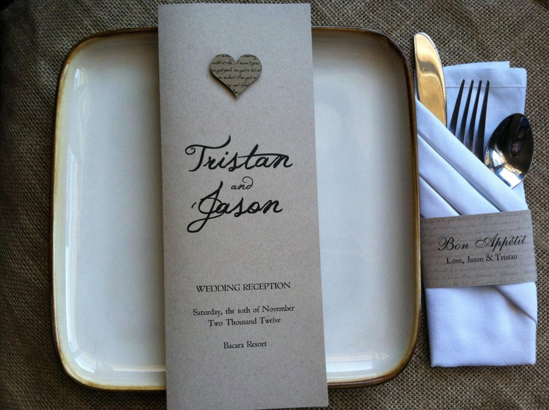 RUSTIC Wedding Program Reception Ceremony Lyrical Love