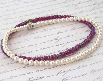 SALE 2 Swarovski White Pearl Anklet, Rainbow Ruby Anklet, beaded anklet, stacking anklet, stretch anklet, stretchy, ankle bracelet, beach