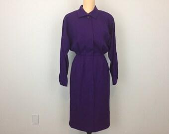 Wool Dress Winter Dress Deep Purple Dress Size 6 Long Sleeve Midi Minimalist Clothing Elastic Waist Boxy Work Dress Small Womens Clothing