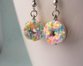 Sprinkle donut earrings - rainbow sprinkles- bakery charms - doughnut shop - mini multicolour donuts
