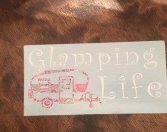 Glamping Life Decal /  Happy Camper Decal / RV Decal / Travel Trailer Decal / Travel Trailer
