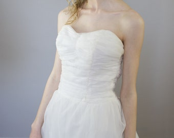 1950's Strapless Chiffon Gown