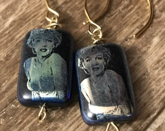 Marilyn Monroe irridescent, glass bead with gold, wire wrapped earrings.