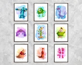 Monsters Inc print set, Monsters watercolor print, Mike Sulley Print, Monster print, Monsters Party Decor,Movie Poster, nursery print, decor