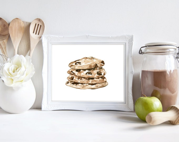 Chocolate Chip Cookie No.123 Print Chocolate Chip Cookie Art Cookie Watercolor Cookie Illustration Kitchen Art Food Decor Art Foodie