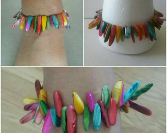 Chunky Mother of pearl sticks  anklet, Girls Trendy design shell bones body jewelry