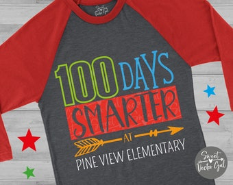 100 Days Smarter svg, 100 days of school svg, eps, png, dxf, svg, cut file, iron on decal, school svg, 100 days of school, sweetvectorgal