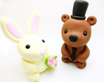 Bear+Rabbit wedding cake toppers