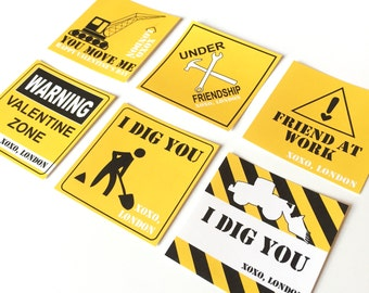 DIGITAL Kids Construction Valentines Cards in Yellow and Black - Perfect for Children's Classes
