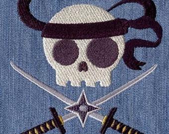 Ninja Skully Embroidered Flour Sack Hand/Dish Towel