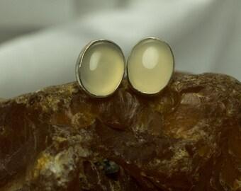 Handmade Alaska Agate Oval Post Earrings