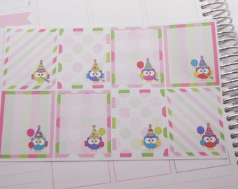 Planner Stickers Full Box Stickers with celebrating Owls Birthday Planner Stickers  PS218 Fits Erin Condren