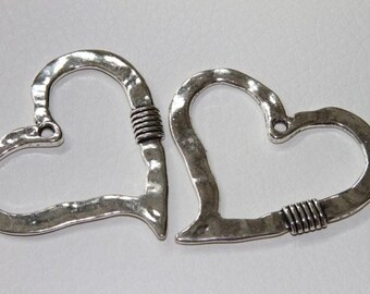 2 pcs 60mm Large Hammered cut out crooked Heart Pendant Antique Silver  Lead free Pewter