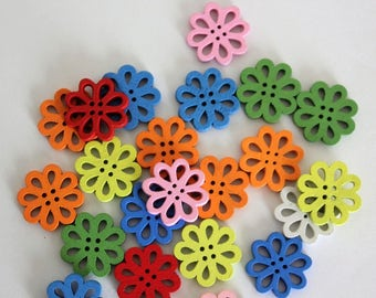Open Hole Flower Buttons - Wood - 10 Count
