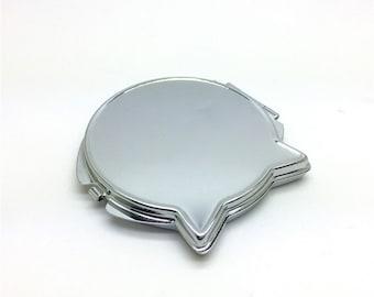 5pcs/lot 6.5cm x 6.3cm hello kitty cat pocket mirror DIY kit, metal box mirror, includes glass or plastic flat tile N06x