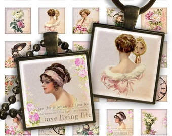 75% OFF SALE Beauty Ladies & Flowers - Digital Collage Sheet 1 inch squares 1 inch 25mm Pendant Printable Download for jewelry making PS014