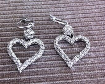 Vintage Crystal Diamante Heart Pendant Earrings