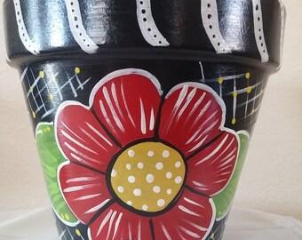 Pottery hand painted, flower pot, teacher gift, garden decor, home decor,classroom decor, colorful flower pot, hand painted pot