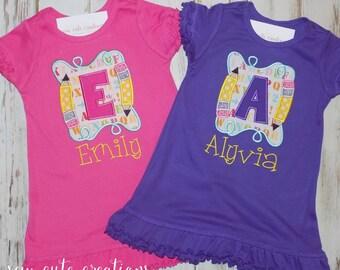 Back to School Dress, Pencil Dress, Monogram Dress, Preschool dress, Kindergarten dress, first day of school dress, Sew Cute Creations